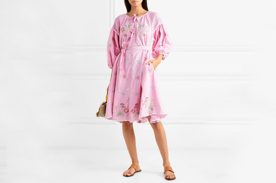 Innika Choo Smocked embroidered gingham cotton dress