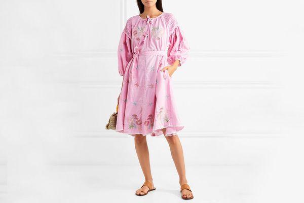 Innika Choo Smocked embroidered gingham cotton dress