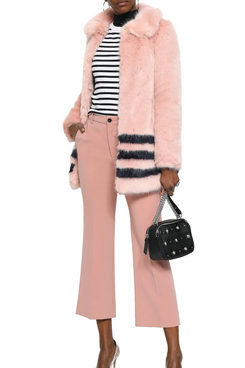 Shrimps Striped Faux Fur Coat (Pastel Pink)