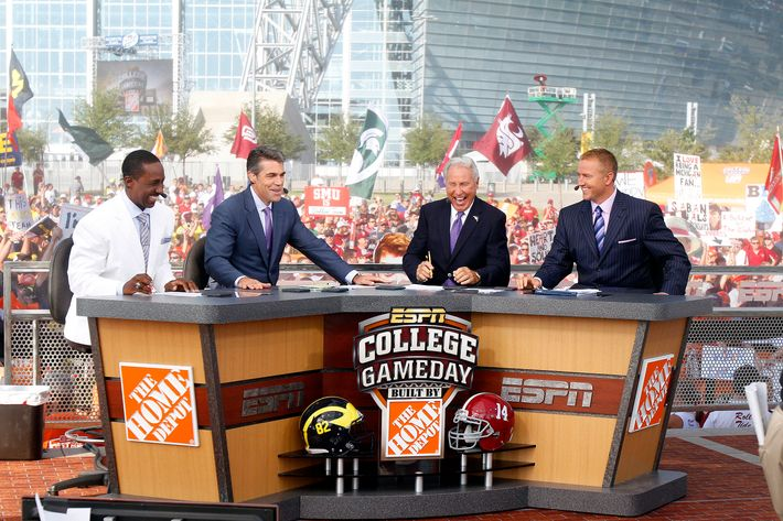 01 September 2012: Desmond Howard, Chris Fowler, Lee Corso and Kirk Herbstreit during the live broadcast of ESPN College GameDay outside Cowboys Stadium in Arlington, TX prior to the Cowboys Classic between the Alabama Crimson Tide vs. Michigan Wolverines.