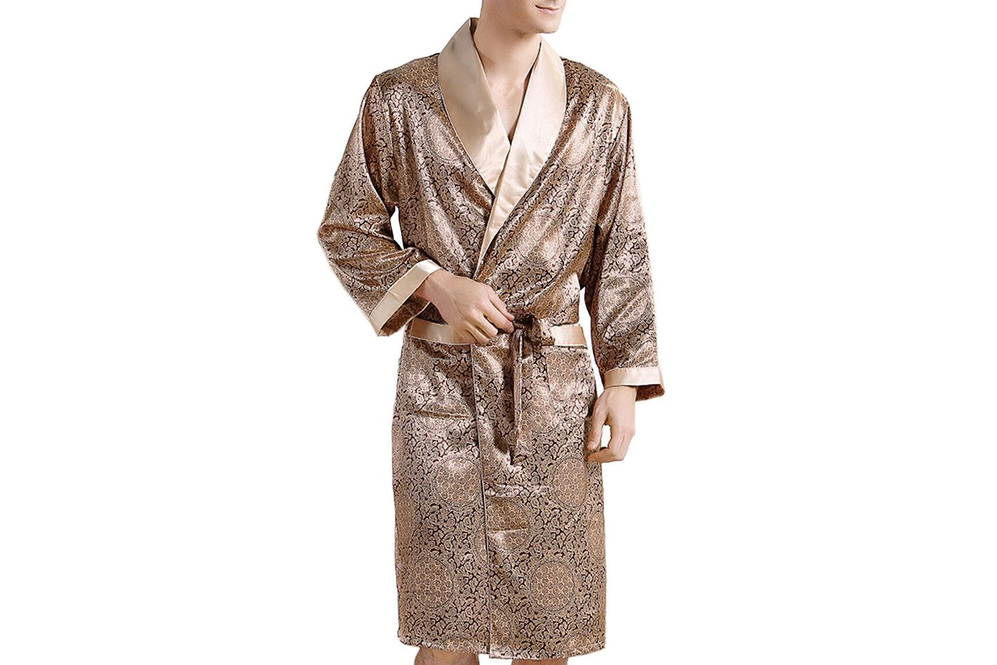 Binken Men s Satin Pajamas Sleepwear Robe at Amazon 942896036