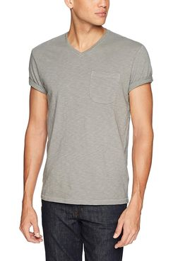 Amazon Brand - Goodthreads Men's Lightweight Slub V-Neck Pocket T-Shirt Castle Rock/Grey