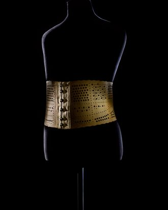 A corset on display in the