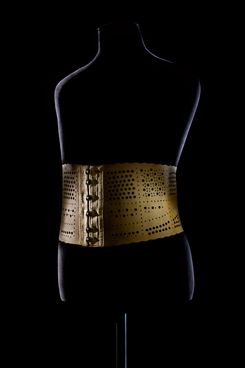 "A corset on display in the ""Fashioning the Body"" exhibit."