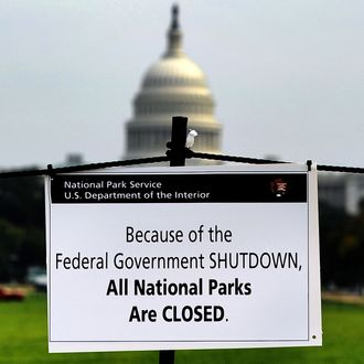 A closure sign is posted on the national mall near the US Capitol in Washington, DC, October 3, 2013