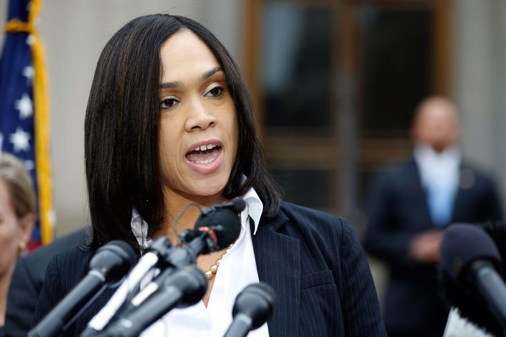 Marilyn Mosby, Baltimore state's attorney, speaks during a media availability, Friday, May 1, 2015 in Baltimore. Mosby announced criminal charges against all six officers suspended after Freddie Gray suffered a fatal spinal injury in police custody.   (AP Photo/Alex Brandon)