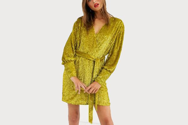 Asos Edition Sequin Wrap Midi Dress