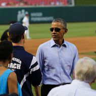 US President Watches The Congressional Baseball Game