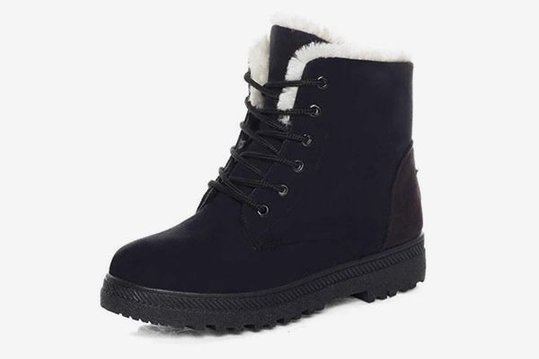 DADAWEN Women's Suede Waterproof Lace Up Winter High Top Snow Boots