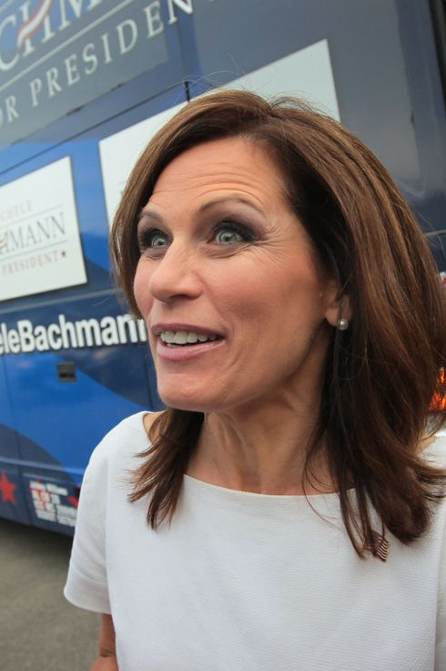 WATERLOO, IA - AUGUST 14:  Republican presidential candidate Minnesota congresswoman Michele Bachmann arrives at the Black Hawk County GOP Lincoln Day Dinner August 14, 2011 in Waterloo, Iowa. The visit comes on the heels of Bachmann's victory at the Iowa Straw Poll.  Bachmann is sharing the spotlight at the event with the straw poll?s fourth place finisher former U.S. Senator from Pennsylvania Rick Santorum and Texas Governor Rick Perry who announced yesterday that he would enter the race for the Republican nomination.  (Photo by Scott Olson/Getty Images)