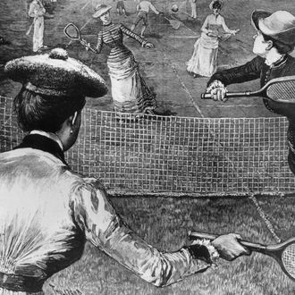circa 1880: Women playing tennis in Prospect Park, Brooklyn, New York. (Photo by Three Lions/Getty Images)