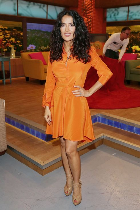 "Salma Hayek of ""Grown Ups 2"" cast appears on Univision's ""Despierta America"" to promote the movie at Univision Headquarters on July 8, 2013 in Miami, Florida."
