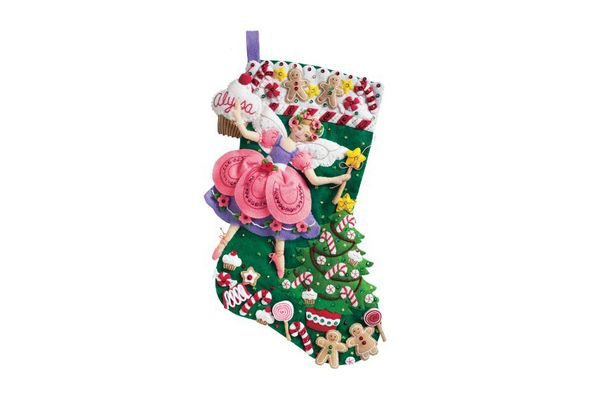 Bucilla 18-Inch Christmas Stocking Felt Applique Kit, 85431 Sugar Plum Fairy