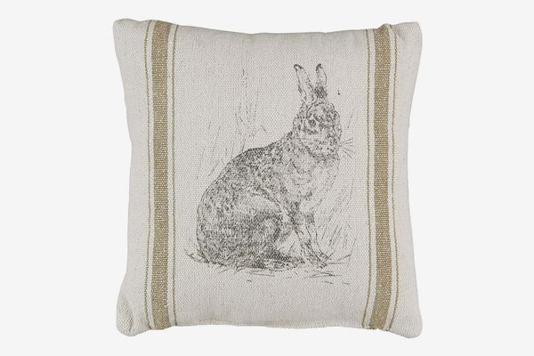 Acelive Square Vintage Shabby Striped Hare Burlap Cushion Cover