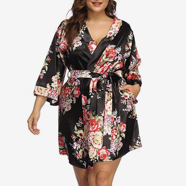 Allegrace Women's Plus Size Floral Print Wrap Front Satin Kimono Robe