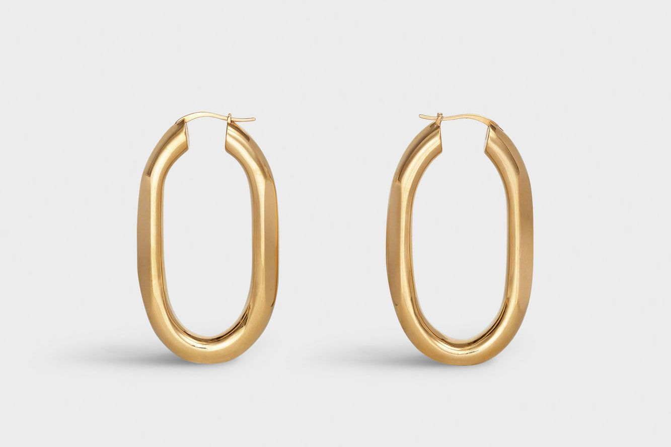 Celine Chaine Triomphe Large Hoops in Brass