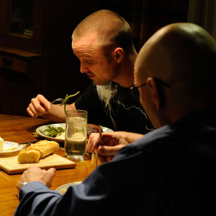 Skyler White (Anna Gunn), Jesse Pinkman (Aaron Paul) and Walter White (Bryan Cranston) -Breaking Bad_Season 5, Episode 6_