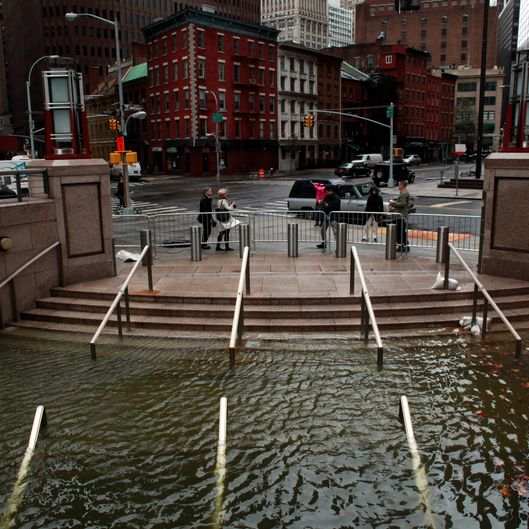 NEW YORK, NY - OCTOBER 30: Water floods the Plaza Shops in the wake of Hurricane Sandy, on October 30, 2012 in Manhattan, New York.The storm has claimed at least 16 lives in the United States, and has caused massive flooding across much of the Atlantic seaboard. US President Barack Obama has declared the situation a 'major disaster' for large areas of the US East Coast including New York City. (Photo by Allison Joyce/Getty Images)
