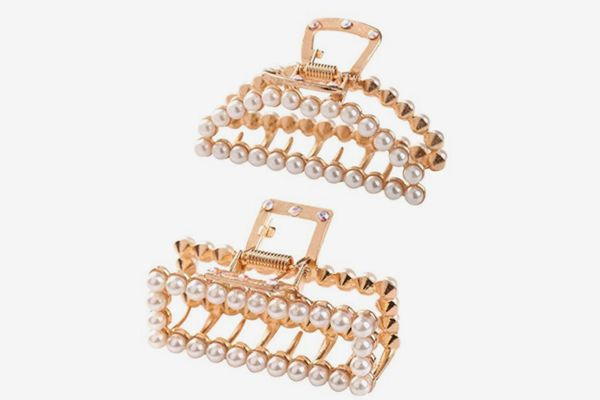 Women's Pearl Hair Claw Clips - 2 Pieces