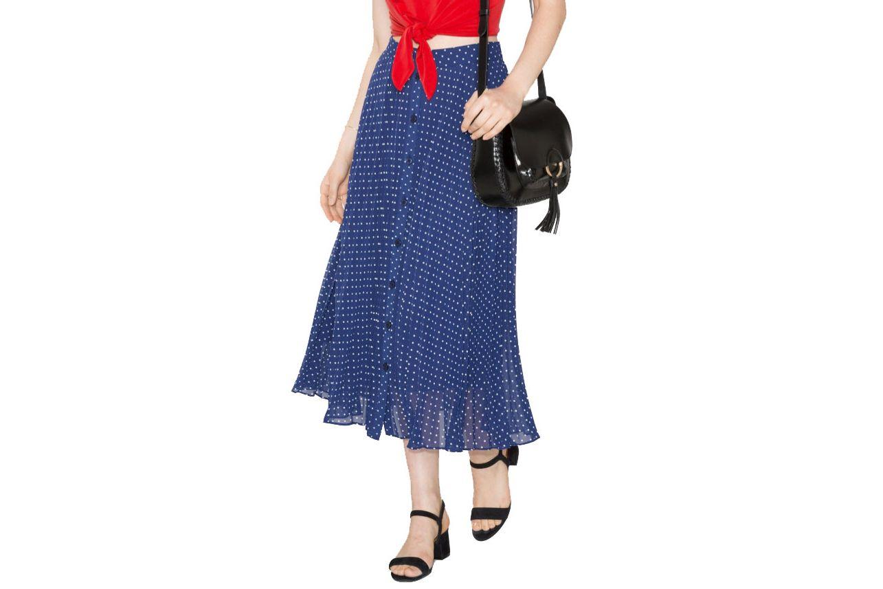 & Other Stories Blue Dot Print Skirt