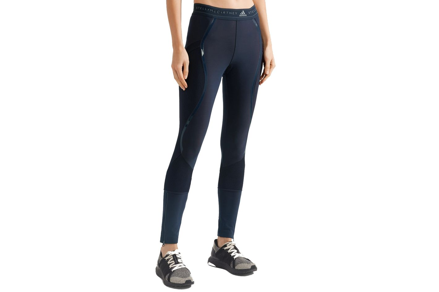 ADIDAS BY STELLA MCCARTNEY Climaheat ribbed knit-paneled stretch leggings