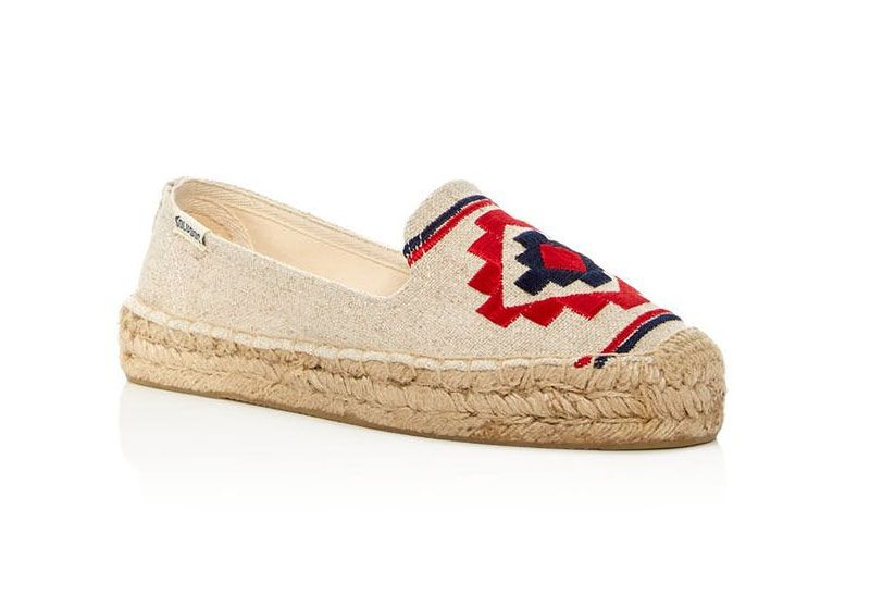Soludos Embroidered Smoking Slipper Platform Espadrilles