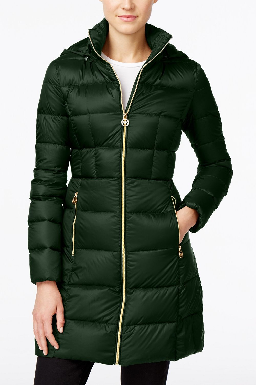 Michael Michael Kors Hooded Long Packable Down Puffer Coat, Emerald