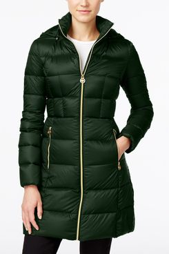Michael Michael Kors Hooded Long Packable Down Puffer Coat, Emerald