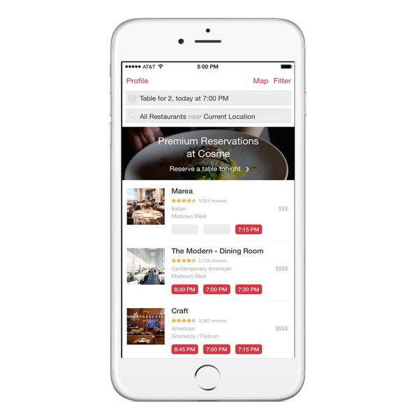 OpenTable Tries Charging for 'Premium' Reservations
