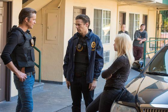 JUSTIFIED -- Raw Deal -- Episode 507 (Airs Tuesday, February 25, 10:00 pm e/p) -- Pictured: (L-R) Timothy Olyphant as Deputy U.S. Marshal Raylan Givens, Jacob Pitts as Deputy Marshal Tim Gutterson, Adrien