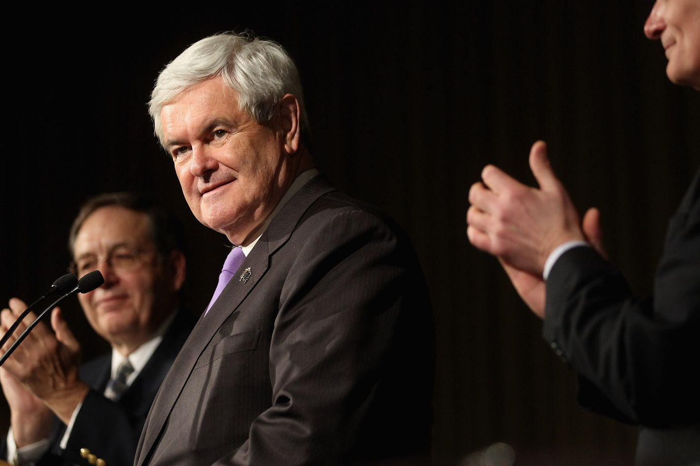 Republican presidential candidate, former U.S. Speaker of the House Newt Gingrich speaks at the Lincoln-Reagan Day Dinner at Bowling Green State University during a campaign stop on March 3, 2012 in Bowling Green, Ohio.