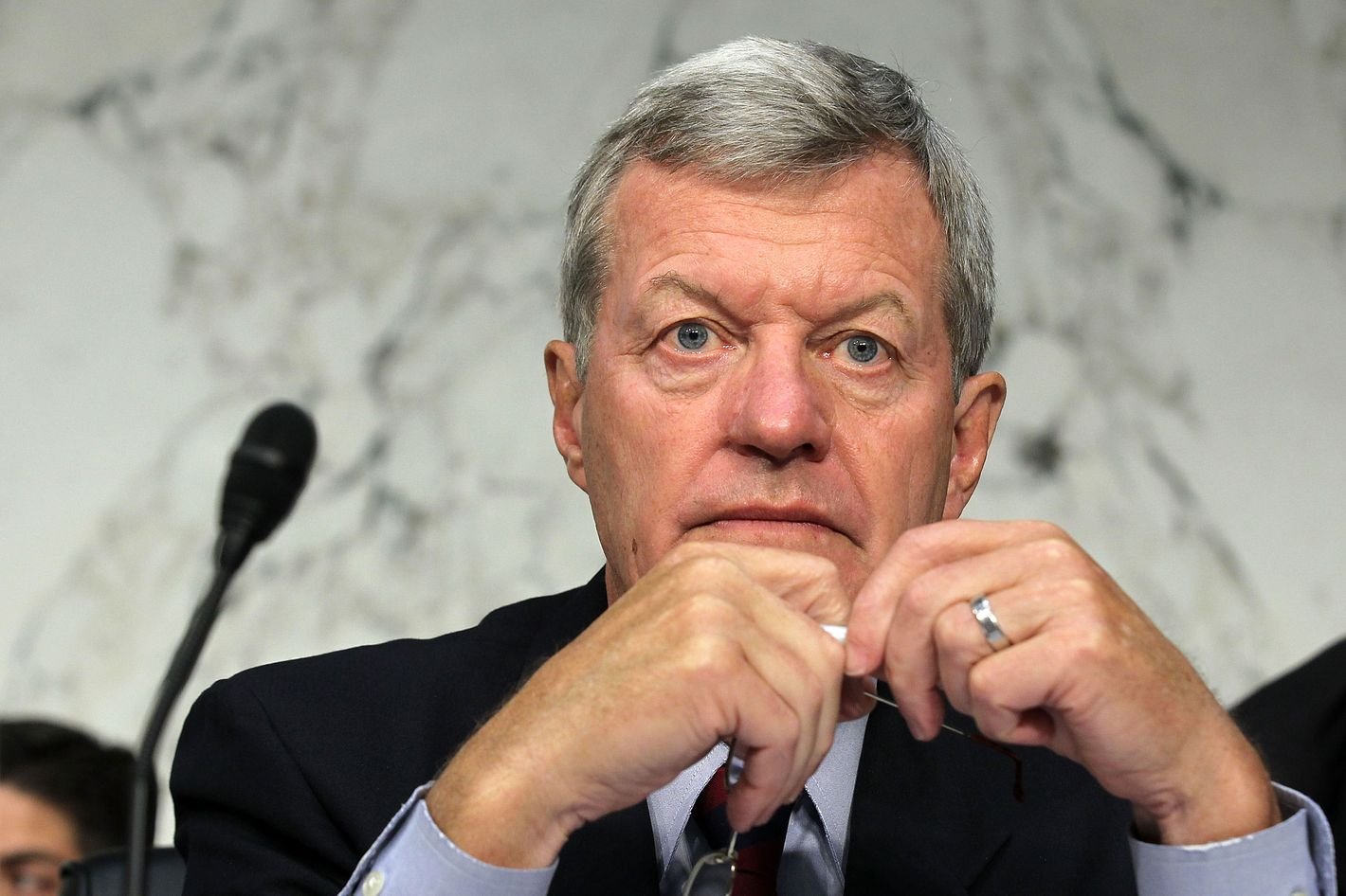 """U.S. Sen. Max Baucus (D-MT) listens during a hearing before the Joint Deficit Reduction Committee, also known as the supercommittee, September 13, 2011 on Capitol Hill in Washington, DC.  The committee heard from Congressional Budget Office Director Douglas Elmendorf on """"The History and Drivers of Our Nation's Debt and Its Threats."""""""