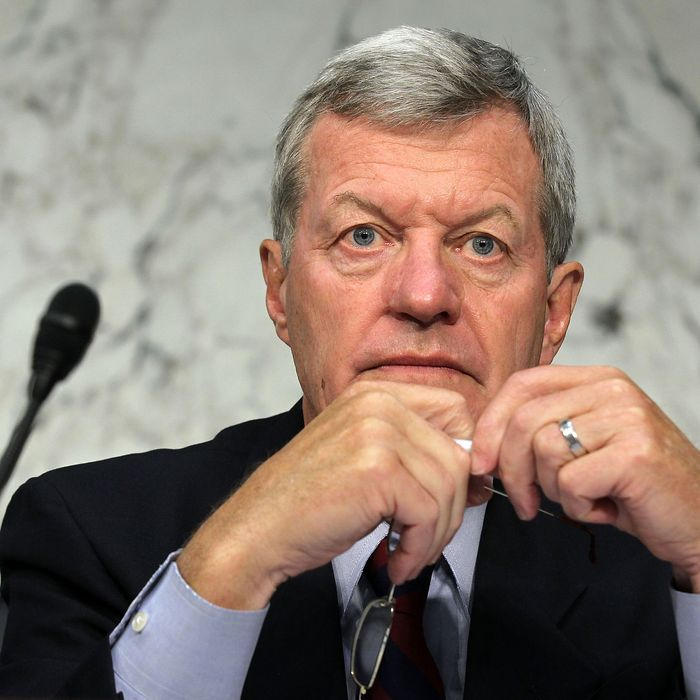 U.S. Sen. Max Baucus (D-MT) listens during a hearing before the Joint Deficit Reduction Committee, also known as the supercommittee, September 13, 2011 on Capitol Hill in Washington, DC. The committee heard from Congressional Budget Office Director Douglas Elmendorf on