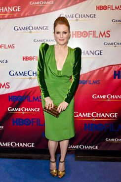 "Julianne Moore poses on the red carpet, wearing Tom Ford during the ""Game Change"" premiere"