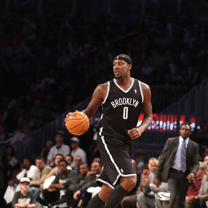 Andray Blatche #0 of the Brooklyn Nets dribbles the ball against the Los Angeles Clippers at the Barclays Center on November 23, 2012 in the Brooklyn borough of New York City.