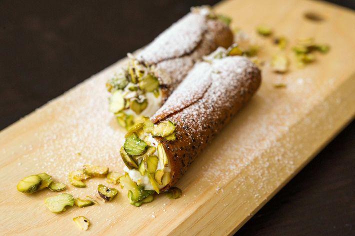Cannoli, ricotta, orange, poppy seed, pistachio.