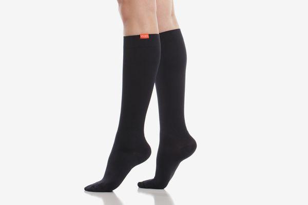 Vim & Vigr Women's Solid Black Moisture-Wick Nylon Compression Socks