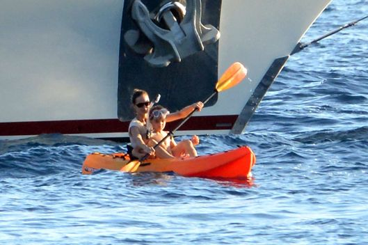 "Vanessa Paradis is seen on vacation abroad her luxury yacht, ""Vajoliraja"" with her children Lily Rose and Jack."