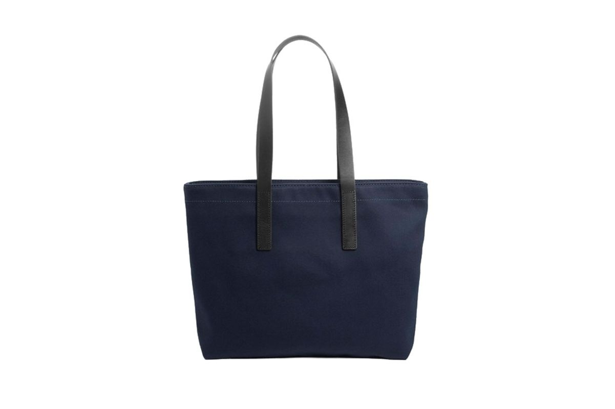 blue everlane twill zip tote- strategist best travel accessories and best tote bag