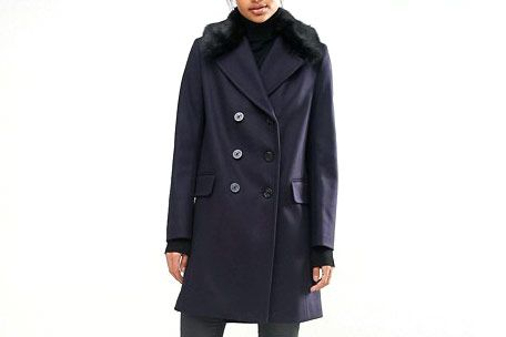 French Connection Navy Peacoat With Faux Fur Collar