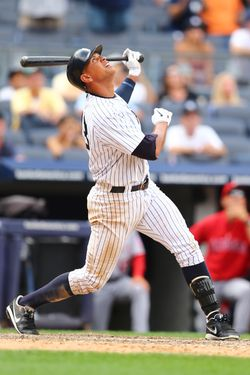 NEW YORK, NY - JULY 15:  Alex Rodriguez #13 of the New York Yankees pops up for the final out of the game with the bases loaded for a 10-8 loss to the Los Angeles Angels during their game on July 15, 2012 at Yankee Stadium in the Bronx borough of New York City.  (Photo by Al Bello/Getty Images)