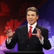 Texas Gov. Rick Perry speaks during a debate hosted by CNBC and the Michigan Republican Party at Oakland University on November 9, 2011 in Rochester, Michigan. The debate is the first meeting of the eight GOP presidential hopefuls since allegations of sexual impropriety have surfaced against front-runner Herman Cain.