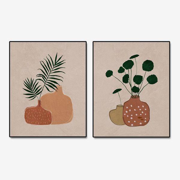 Palm Leaf and Terracotta Pot Wall Prints, Set of 2 Prints, 8x10 inch