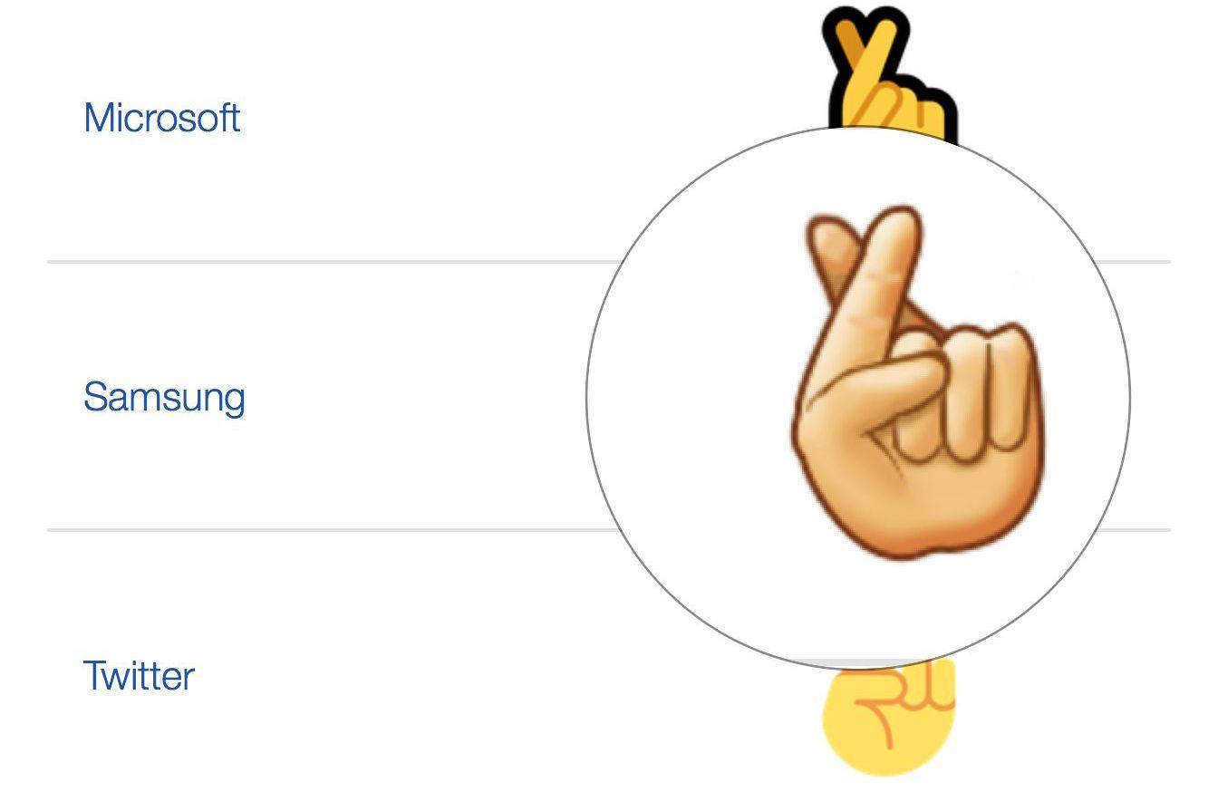 Samsung fingers crossed emoji has 6 fingers biocorpaavc