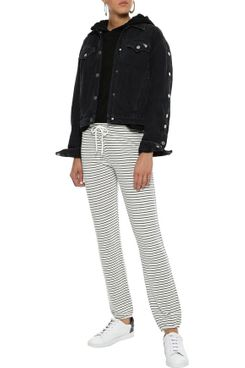 Monrow Pinstriped French-Terry Track Pants