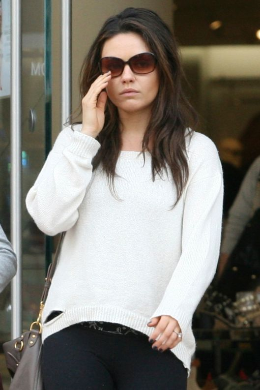 Mila Kunis and her mom shop at Nordstrom in West Hollywood, CA.