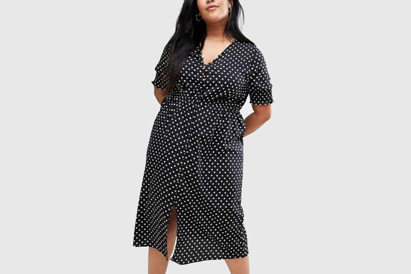 Influence Plus shirred Sleeve Polka Dot Midi Dress