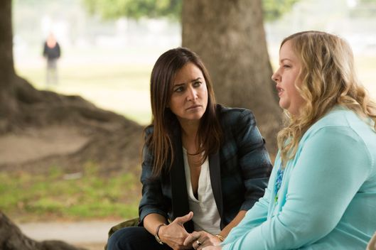 "BETTER THINGS ""Duke's Chorus"" Episode 7 (Airs Thursday, October 20, 10:00 pm/ep) -- Pictured: (l-r) Pamela Adlon as Sam Fox, Sarah Baker as Trinity. CR: Jessica Brooks/FX"