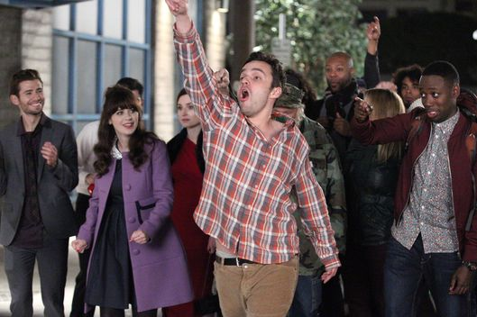 "NEW GIRL: Nick (Jake Johnson, second from R) and the gang go on an epic Valentine's Day pub crawl in the ""The Crawl"" episode of NEW GIRL airing Tuesday, Feb. 10 (9:00-9:30 PM ET/PT) on FOX.  Also pictured:  L-R:  guest star Julian Morris, Zooey Deschanel, guest star Zoe Lister Jones and Lamorne Morris.  ?2015 Fox Broadcasting Co. Cr: Nicole Wilder-Shattuck/FOX"