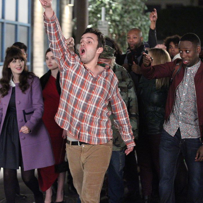 NEW GIRL: Nick (Jake Johnson, second from R) and the gang go on an epic Valentine's Day pub crawl in the